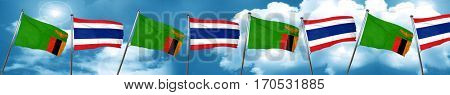 Zambia flag with Thailand flag, 3D rendering