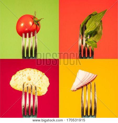 Tomato basil onion bread on fork arrange in a square