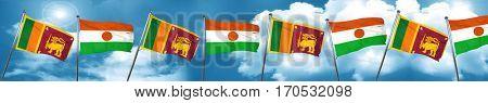 Sri lanka flag with Niger flag, 3D rendering