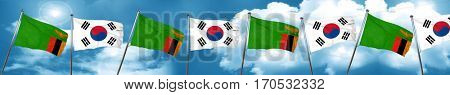 Zambia flag with South Korea flag, 3D rendering