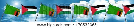 Zambia flag with Palestine flag, 3D rendering