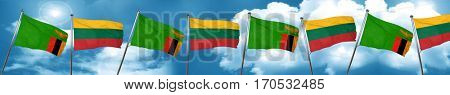 Zambia flag with Lithuania flag, 3D rendering