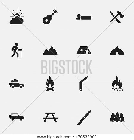 Set Of 16 Editable Trip Icons. Includes Symbols Such As Gait, Blaze, Sunrise And More. Can Be Used For Web, Mobile, UI And Infographic Design.