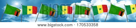 Zambia flag with Senegal flag, 3D rendering