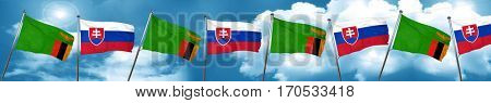 Zambia flag with Slovakia flag, 3D rendering