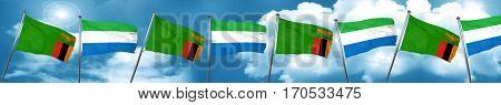 Zambia flag with Sierra Leone flag, 3D rendering