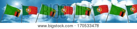 Zambia flag with Portugal flag, 3D rendering