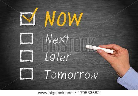 Do it Now - motivation checkbox concept