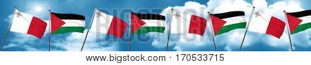 Malta flag with Palestine flag, 3D rendering