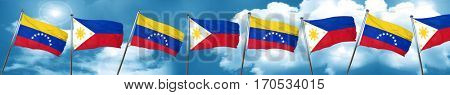Venezuela flag with Philippines flag, 3D rendering