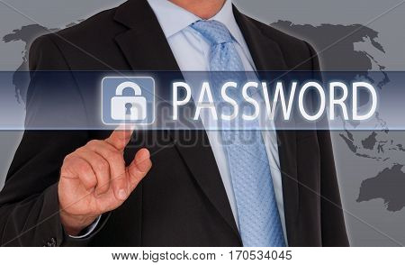Password - businessman with touchscreen - data security