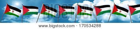 Western sahara flag with Palestine flag, 3D rendering