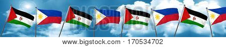 Western sahara flag with Philippines flag, 3D rendering