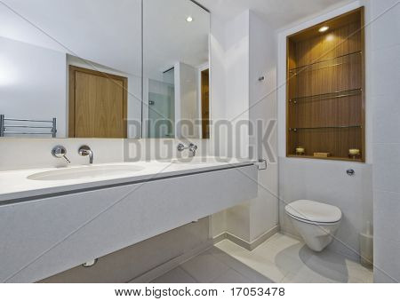 luxury family bathroom with double hand wash basin