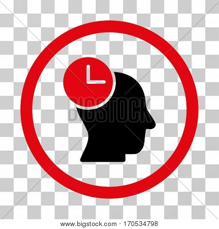 Time Thinking rounded icon. Vector bicolor illustration style is a flat iconic symbol inside a circle intensive red and black colors transparent background. Designed for web and software interfaces.