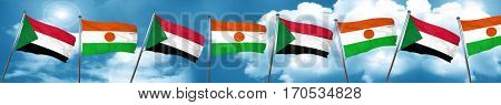 Sudan flag with Niger flag, 3D rendering