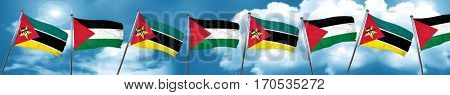 Mozambique flag with Palestine flag, 3D rendering