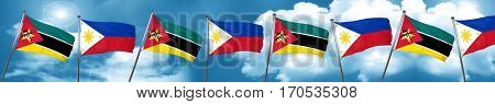 Mozambique flag with Philippines flag, 3D rendering