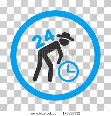 Around The Clock Work rounded icon. Vector bicolor illustration style is a flat iconic symbol inside a circle blue and gray colors transparent background. Designed for web and software interfaces.