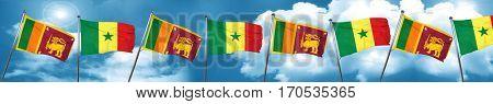 Sri lanka flag with Senegal flag, 3D rendering