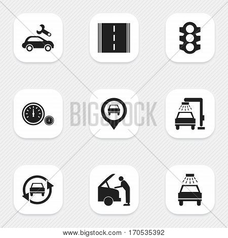 Set Of 9 Editable Traffic Icons. Includes Symbols Such As Vehicle Wash, Stoplight, Tuning Auto And More. Can Be Used For Web, Mobile, UI And Infographic Design.