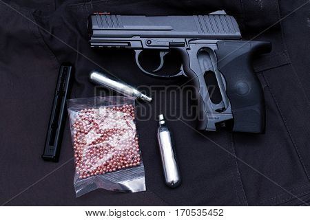 Pneumatic Makarov Pistol With Bullets And Gas Cylinders.