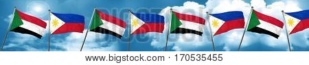Sudan flag with Philippines flag, 3D rendering