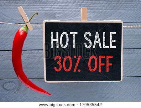Hot Sale - 30 Percent Off - red chili with chalkboard on wooden background