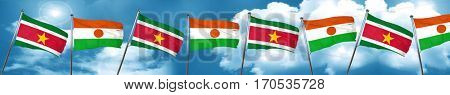 Suriname flag with Niger flag, 3D rendering
