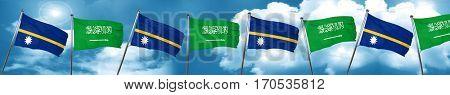 Nauru flag with Saudi Arabia flag, 3D rendering
