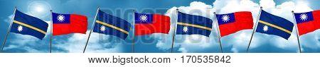 Nauru flag with Taiwan flag, 3D rendering