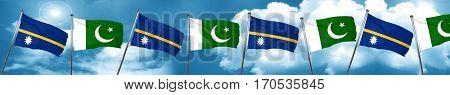 Nauru flag with Pakistan flag, 3D rendering