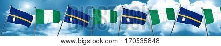 Nauru flag with Nigeria flag, 3D rendering