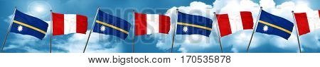 Nauru flag with Peru flag, 3D rendering