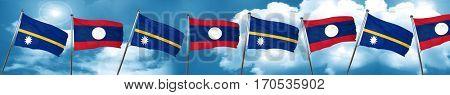 Nauru flag with Laos flag, 3D rendering
