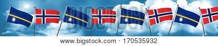 Nauru flag with Norway flag, 3D rendering