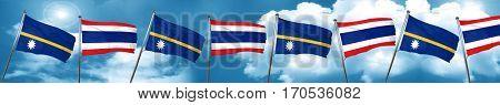 Nauru flag with Thailand flag, 3D rendering