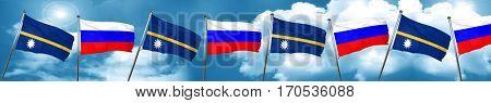 Nauru flag with Russia flag, 3D rendering
