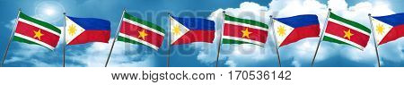 Suriname flag with Philippines flag, 3D rendering