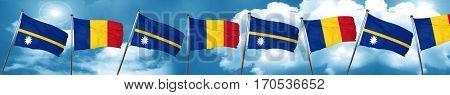 Nauru flag with Romania flag, 3D rendering