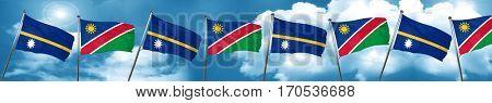 Nauru flag with Namibia flag, 3D rendering