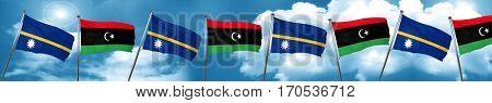 Nauru flag with Libya flag, 3D rendering