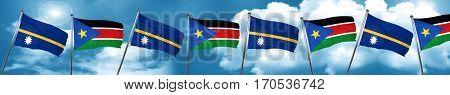 Nauru flag with South Sudan flag, 3D rendering