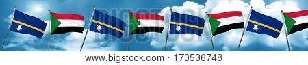 Nauru flag with Sudan flag, 3D rendering