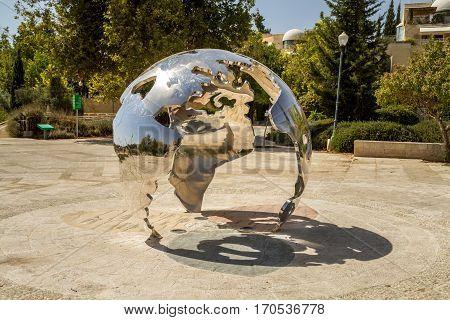 JERUSALEM ISRAEL - OCTOBER 3: Jerusalem as the Center of the World sculpture by David Breuer-Weil in Teddy Park in Jerusalem Israel on October 3 2016