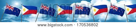 New zealand flag with Philippines flag, 3D rendering