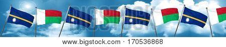 Nauru flag with Madagascar flag, 3D rendering
