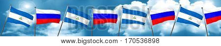 nicaragua flag with Russia flag, 3D rendering