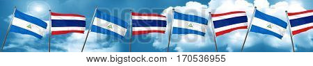 nicaragua flag with Thailand flag, 3D rendering
