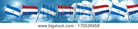 nicaragua flag with Netherlands flag, 3D rendering